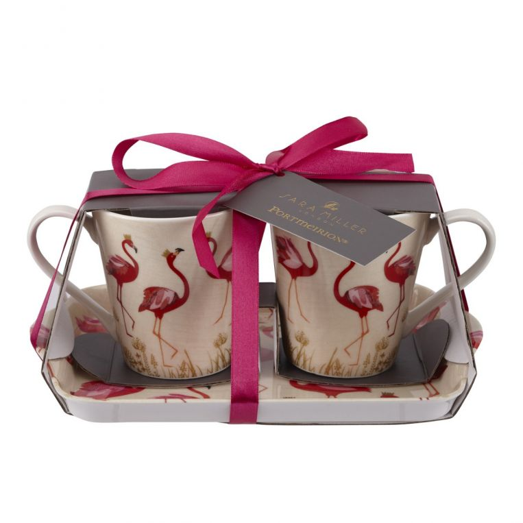 Portmeirion Sara Miller Flamingo Mug & Tray Set