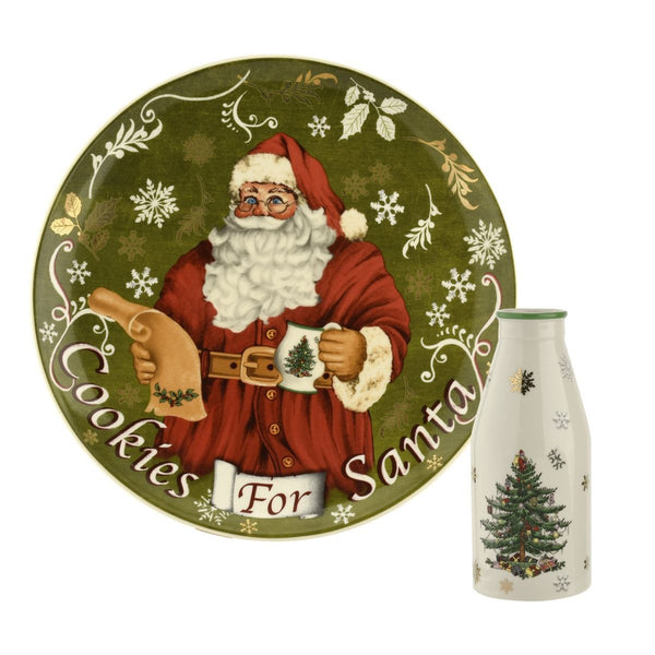 Spode Christmas Tree Santa Cookies Plate and Milk Bottle