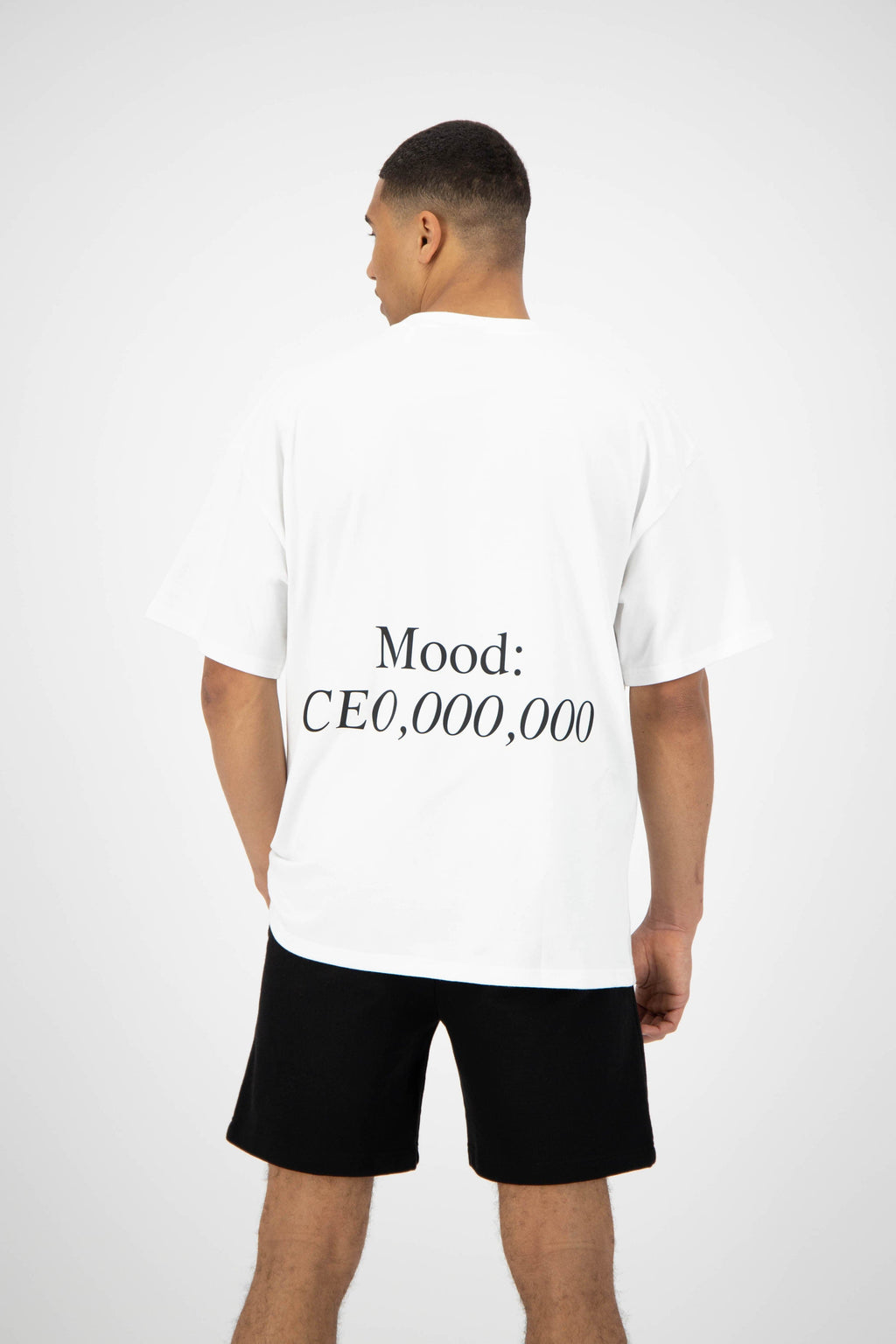 Unisex White Tee - Mood CEO Slogan