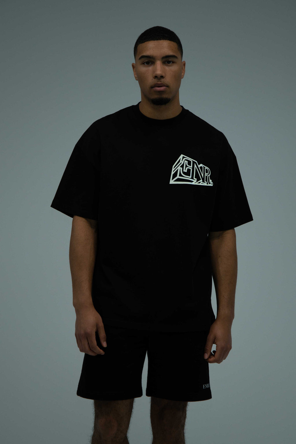 Black T-Shirt With Reflective 3D Logo