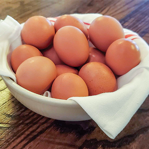 One dozen organic brown eggs in a napkin lined bowl.