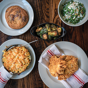 Fried Chicken for Two <br><i>/ Kale & Quinoa Salad / Fried Chicken / Mac + Cheese / Brussels Sprouts / Bread / Chocolate Chip Cookies</i></br>