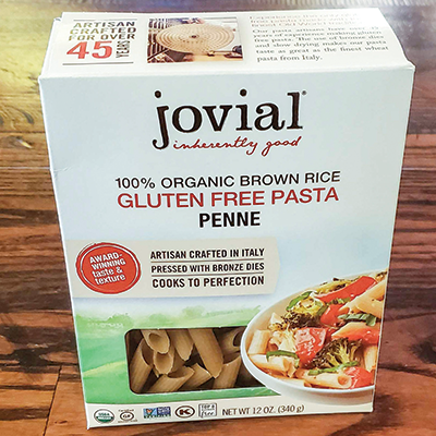 Box of jovial gluten free penne pasta.