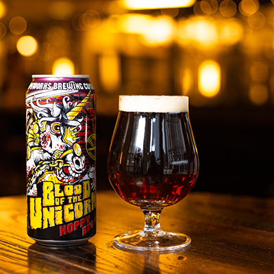 Can of Pipeworks Blood of the Unicorn Red IPA.