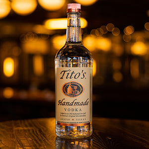 Bottle of Titos vodka.