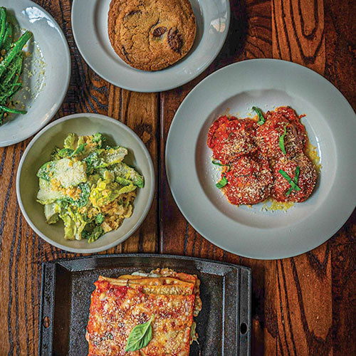 Dinner for two with caesar salad, lasagna, and meatballs