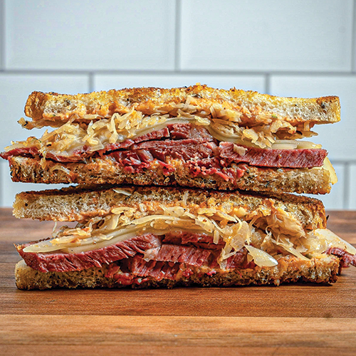 Reuben Sandwich Sliced in Half