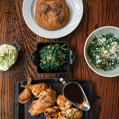 Rosemary Chicken For Two <br><i>/ Kale & Quinoa Salad / Rosemary Chicken / Sautéed Spinach / Smashed Potatoes / Bread / Chocolate Chip Cookies</i></br>