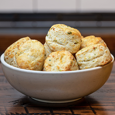 Bowl of cheddar biscuits.