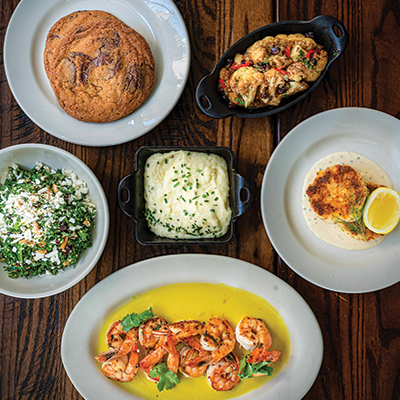 Grilled Shrimp For Two <br><i>/ Kale & Quinoa Salad / Crab Cakes / Grilled Shrimp / Grits / Sicilian Cauliflower / Bread / Chocolate Chip Cookies</i></br>
