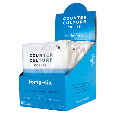 Box of single serve Counter Culture Forty-Six coffee.