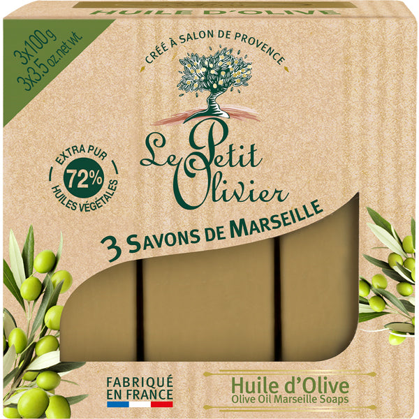 3 Marseille soaps with Olive Oil