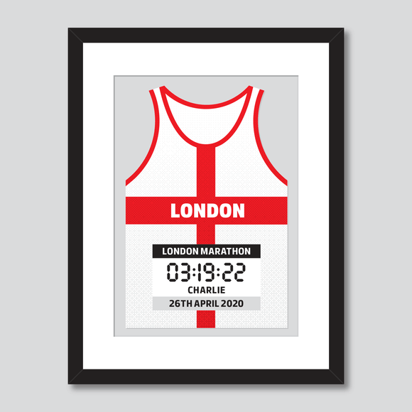 London Marathon England Flag personal best vest print