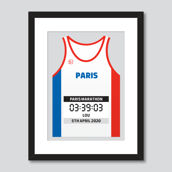 Paris Marathon French Flag personal best vest print