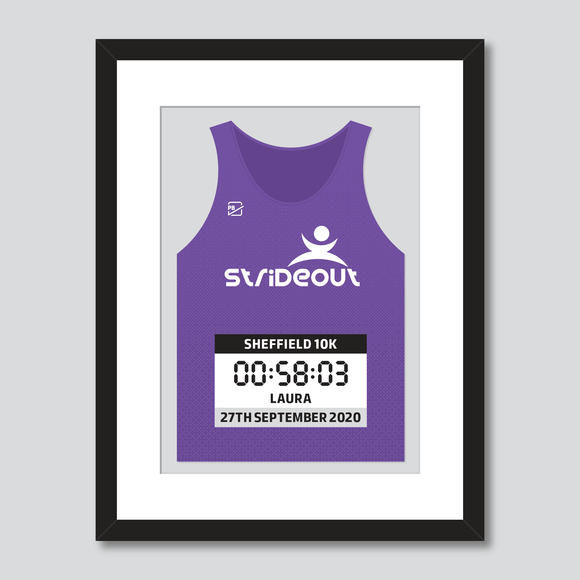 Strideout running club Sheffield 10k personal best vest