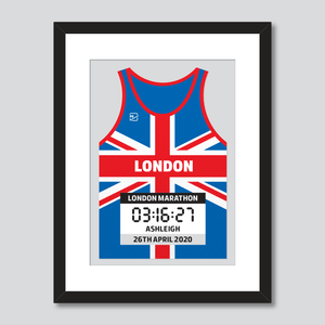 London Marathon union jack personal best vest print