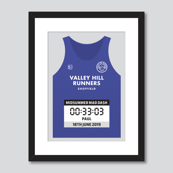Valley Hill Runners Midsummer Mad Dash personal best vest print