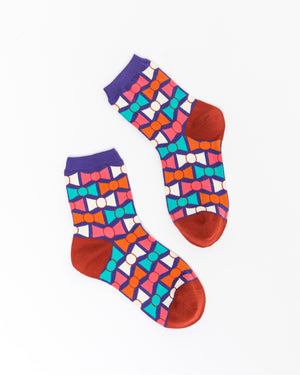 Geometric Bow Ankle Sock