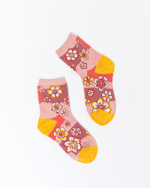 Hand Drawn Floral Ankle Sock