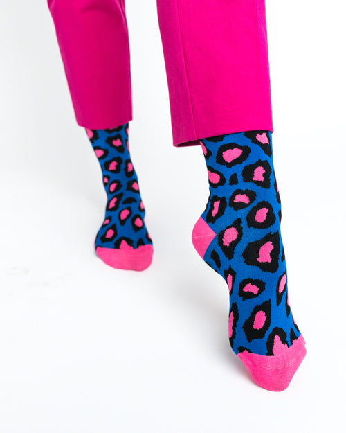 Hot Pink Cheetah Crew Sock