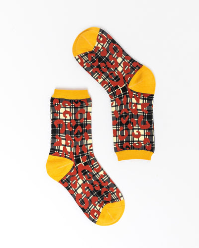 Leopard Plaid Crew Sock