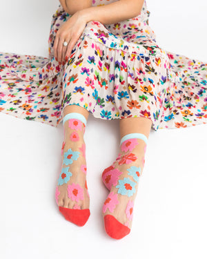Ribbon Roses Sheer Ankle Sock
