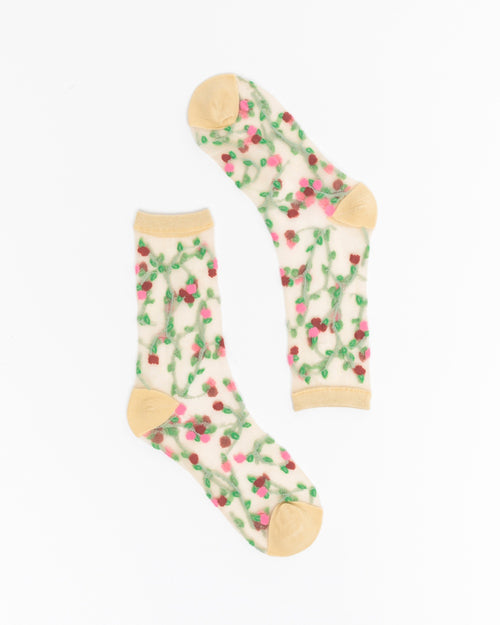 Sheer Rosettes Crew Sock