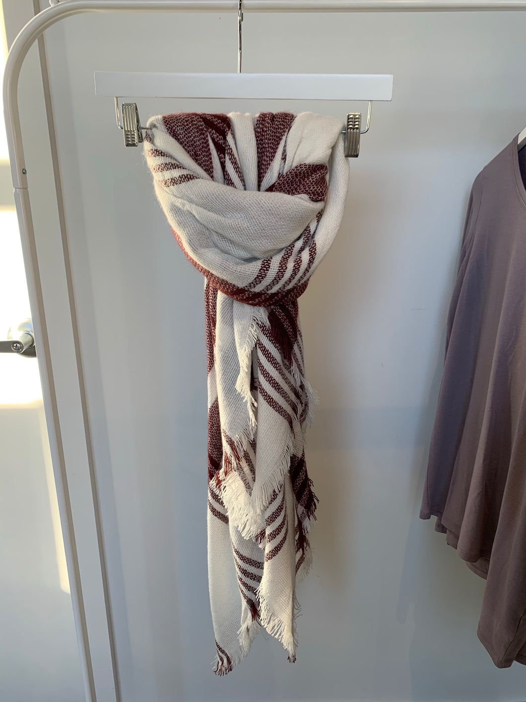 Cozy Scarf Cream/Maroon