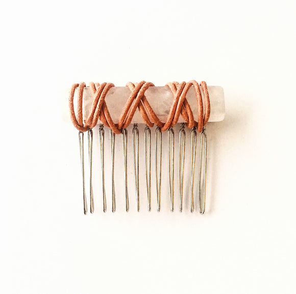 Catherine Hair Comb with Pink Rose Quartz and Tan Leather