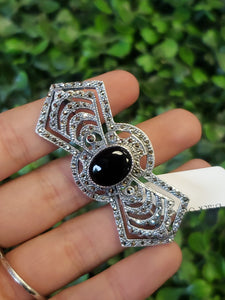 S.S. Black Onyx and Marcasite Broach