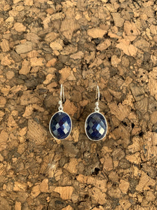S.S. Faceted Lapis Lazuli Dangly Earrings