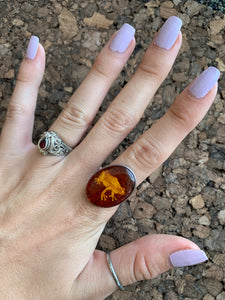 S.S. Amber Frog Ring
