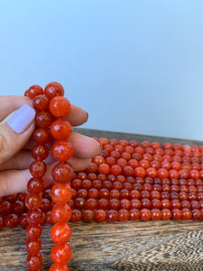 Faceted Fire Agate Beads