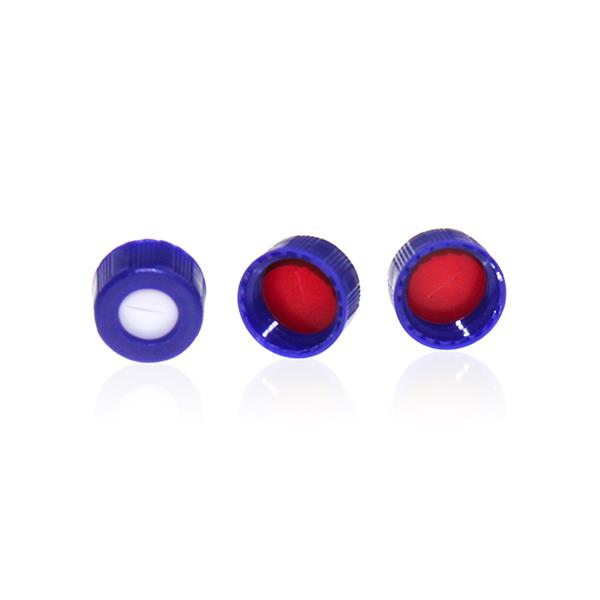 Blue 9-425 Open Top Ribbed Screw Cap with 9mm Red PTFE/White Silicone Septa 1.0mm Thick