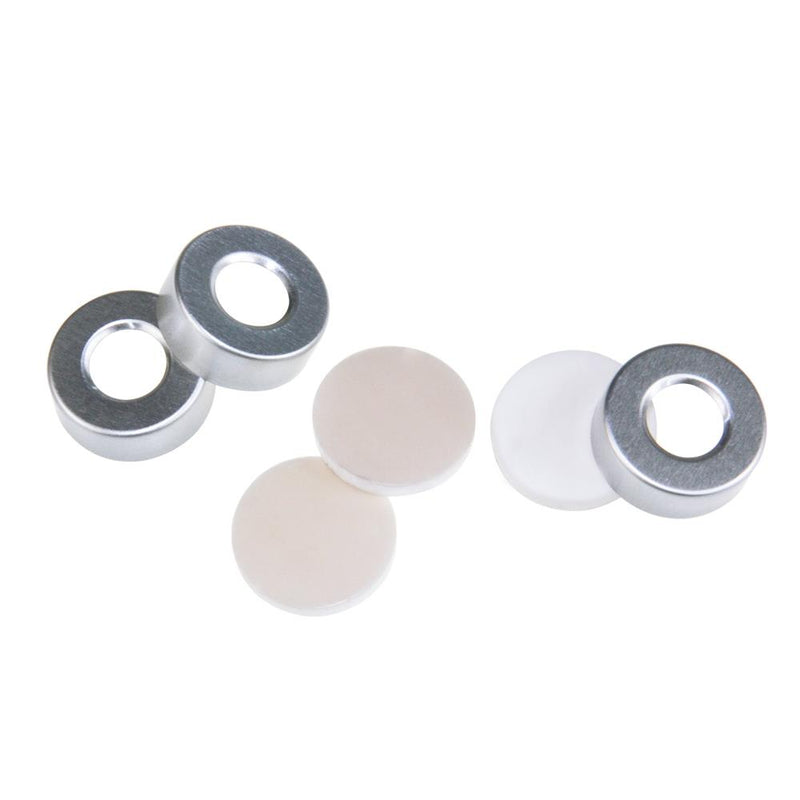 "20mm Open Top Aluminum Crimp Cap (10mm hole) with 20mm Natural PTFE/White Silicone 3mm (.125"") Thick"