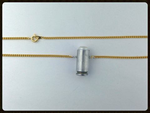 Silver and gold bullet necklace - short casing
