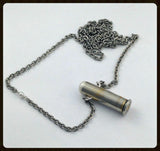 Silver and steel bullet necklace - short casing