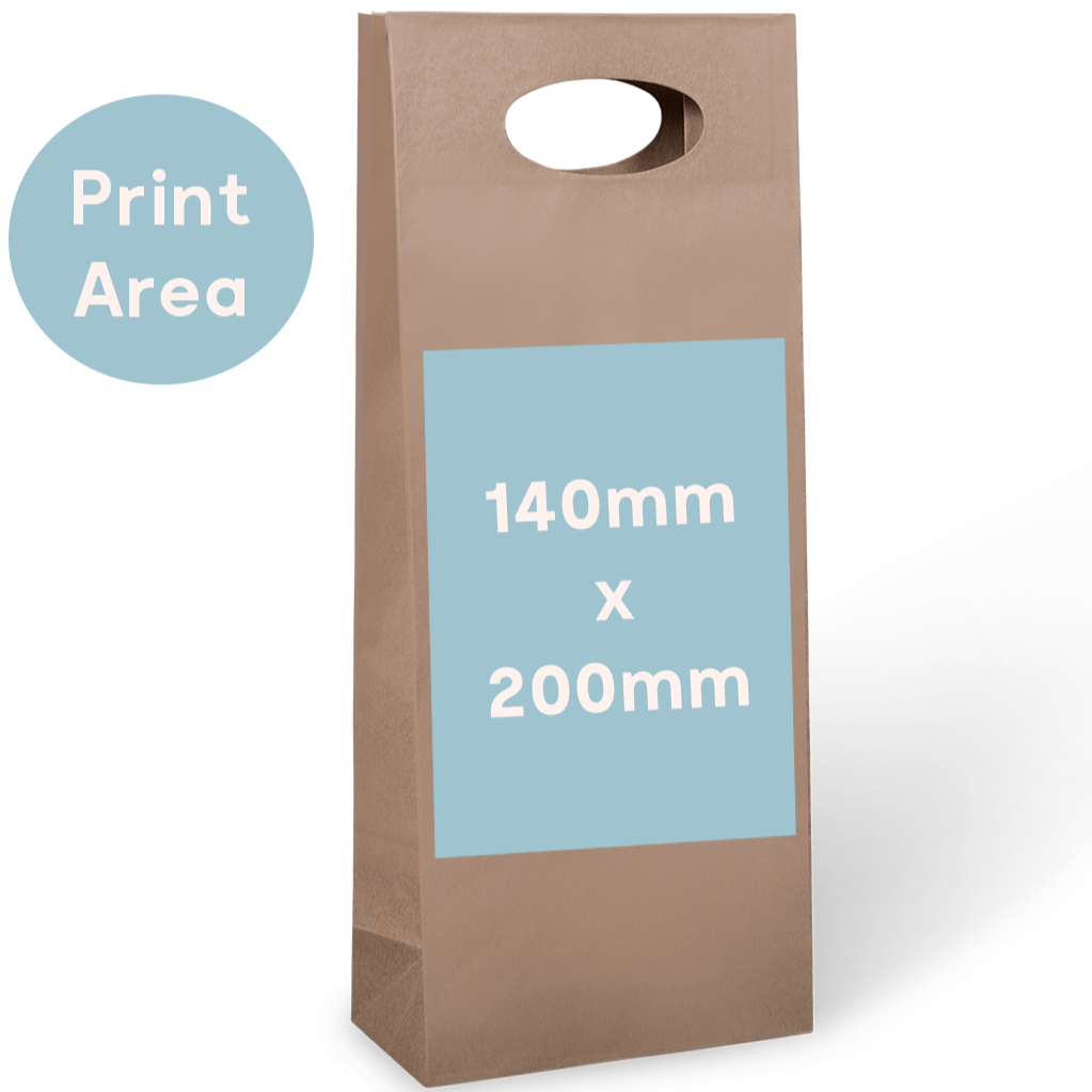 2 Bottle Bag - Die-Cut Handle - Custom Print
