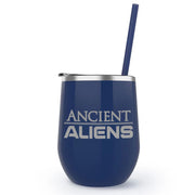 Ancient Aliens Logo Laser Engraved Wine Tumbler with Straw