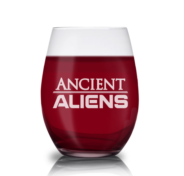 Ancient Aliens Logo Laser Engraved Stemless Wine Glass