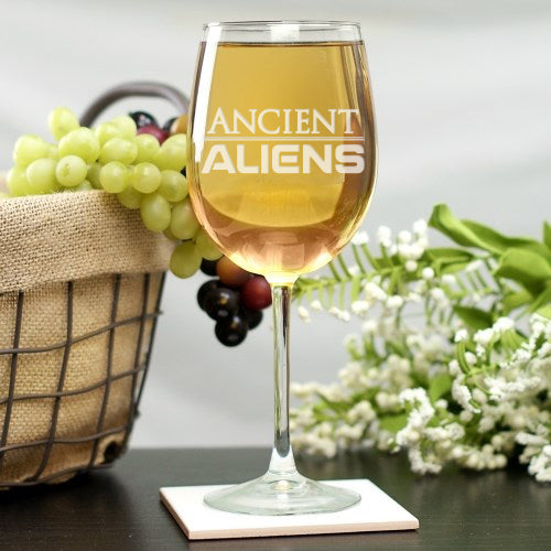 Ancient Aliens Logo Laser Engraved Wine Glass