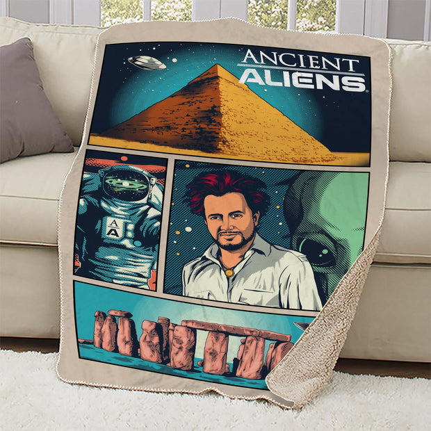 Ancient Aliens Comic Page Sherpa Blanket
