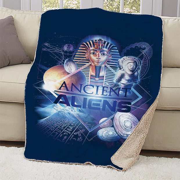 Ancient Aliens History of Man Sherpa Blanket