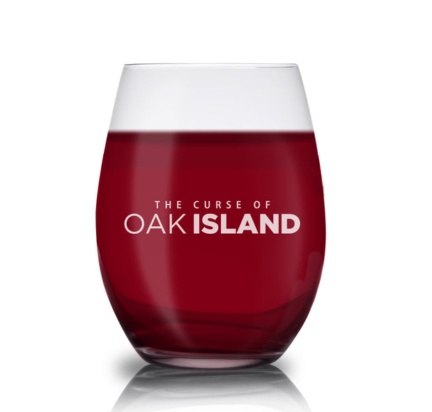The Curse of Oak Island Logo Laser Engraved Stemless Wine Glass