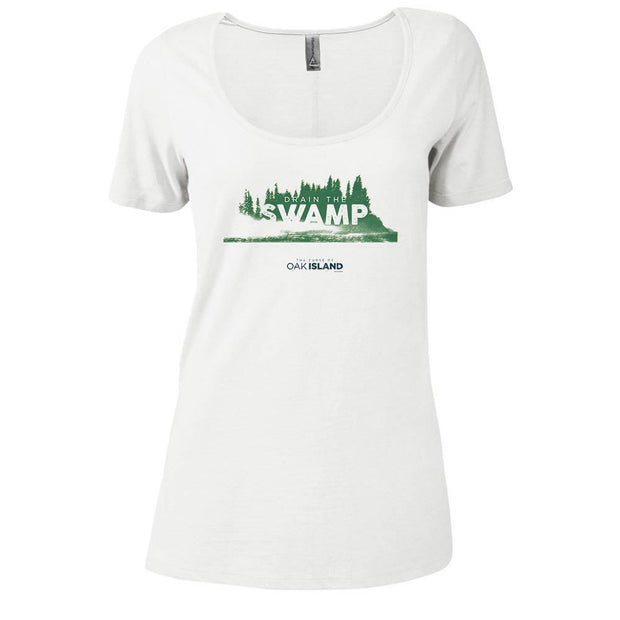 The Curse of Oak Island Drain the Swamp Women's Relaxed Scoop Neck T-Shirt