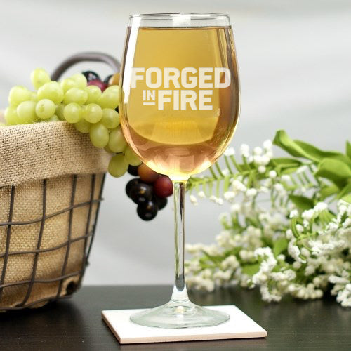 Forged in Fire Logo Laser Engraved Wine Glass