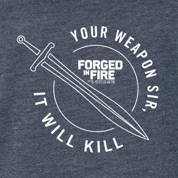 HISTORY Forged in Fire Series It Will Kill Crest Sword Men's Tri-Blend Short Sleeve T-Shirt