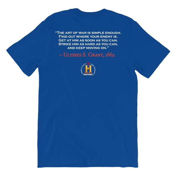 Ulysses S. Grant Art of War Quote and Portrait Adult Short Sleeve T-Shirt