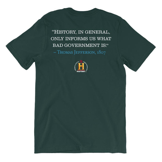 Thomas Jefferson Bad Government Quote and Portrait Adult Short Sleeve T-Shirt