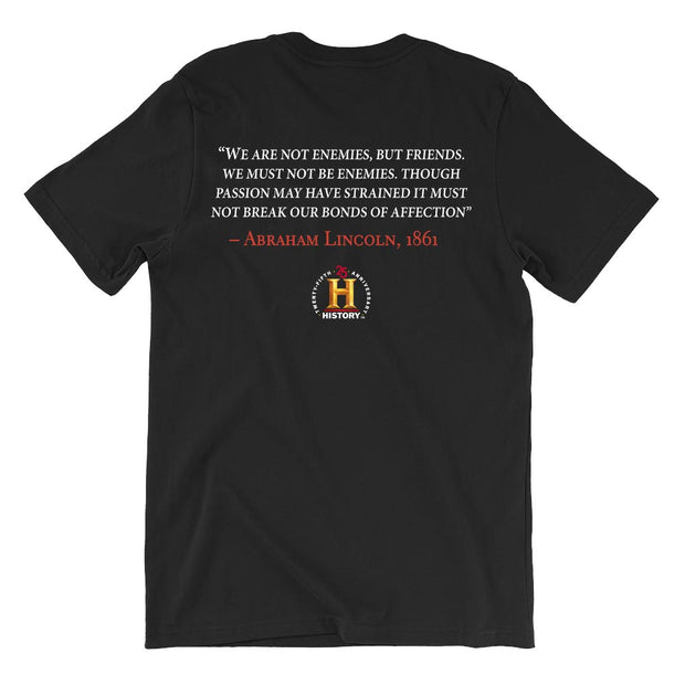 Abraham Lincoln Not Enemies But Friends Quote and Portrait Adult Short Sleeve T-Shirt